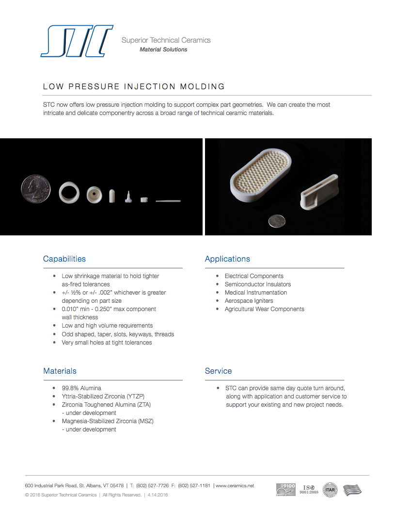 Low Pressure Injection Molding